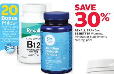 Rexall Brand or Be.better Vitamins - Minerals or Supplements - 20 Bonus Air Miles Reward Miles