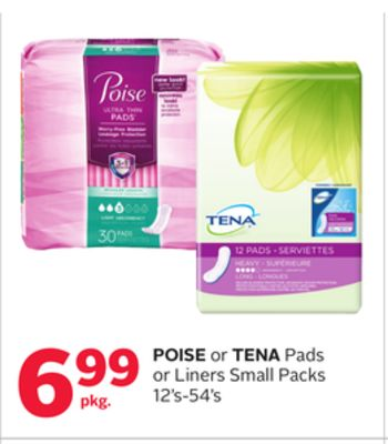Pose or Tena Pads or Liners Small Packs