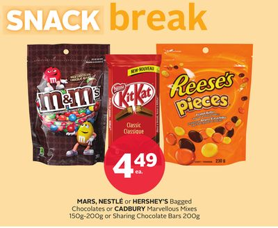 Mars - Nestle or Hershey's Bagged Chocolates or Cadbury Marvellous Mixes 150g-200g or Sharing Chocolate Bars 200g