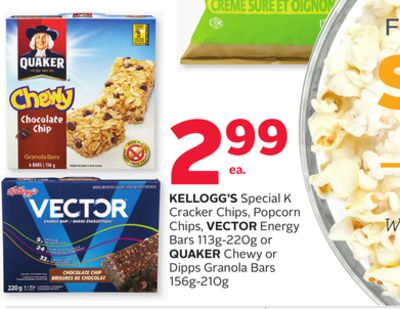 Kellogg's Special K Cracker Chips - Popcorn Chips - Vector Energy Bars 113g-220g or Quaker Chewy or Dipps Granola Bars 156g-210g