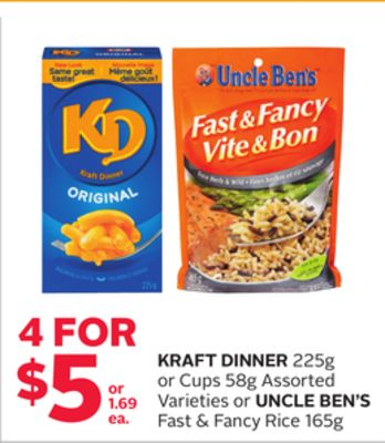Kraft Dinner 225g or Cups 58g Assorted Varieties or Uncle Ben's Fast & Fancy Rice 165g