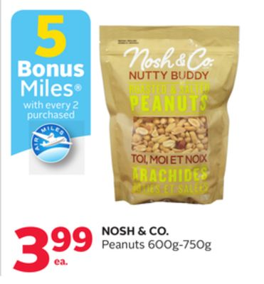Nosh & Co. Peanuts Bonus Air Miles Reward Miles