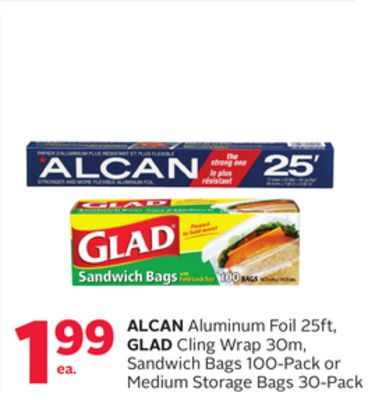 Alcan Aluminum Foil 25ft - Glad Cling Wrap 30m - Sandwich Bags 100-pack or Medium Storage Bags 30-pack