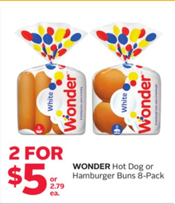 Wonder Hot Dog or Hamburger Buns
