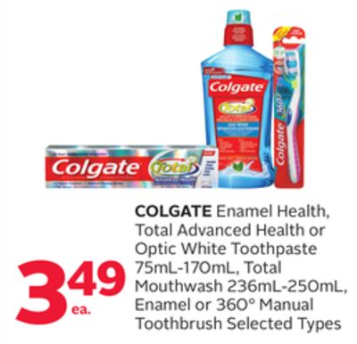 Colgate Enamel Health - Total Advanced Health or Optic White Toothpaste 75ml-170ml - Total Mouthwash 236ml-250ml - Enamel or 360° Manual Toothbrush