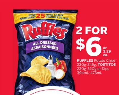 Ruffles Potato Chips 220g-245g - Tostitos 220g-320g or Dips 394ml-473ml