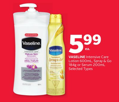 Vaseline Intensive Care Lotion 600ml - Spray & Go 184g or Serum 200ml