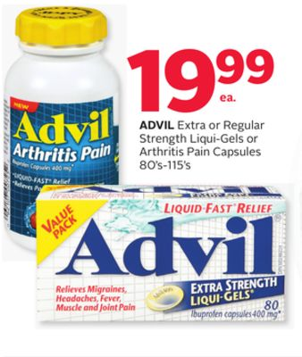 Advil Extra or Regular Strength Liqui-gels or Arthritis Pain Capsules