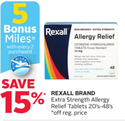 Rexall Brand Extra Strength Allergy Relief Tablets - 5 Bonus Air Miles Reward Miles