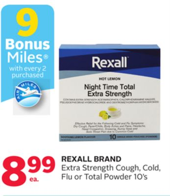 Rexall Brand Extra Strength Cough - Cold - Flu or Total Powder 10's - 9 Bonus Air Miles Reward Miles
