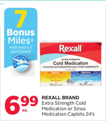 Rexall Brand Extra Strength Cold Medication or Sinus Medication Caplets - 7 Bonus Air Miles Reward Miles