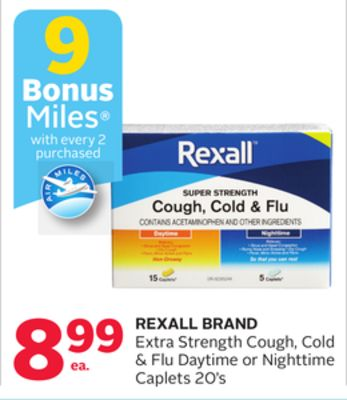 Rexall Brand Extra Strength Cough - Cold & Flu Daytime or Nighttime Caplets - 9 Bonus Air Miles Reward Miles