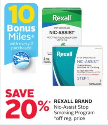Rexall Brand Nic-assist Stop Smoking Program - 10 Bonus Air Miles Reward Miles