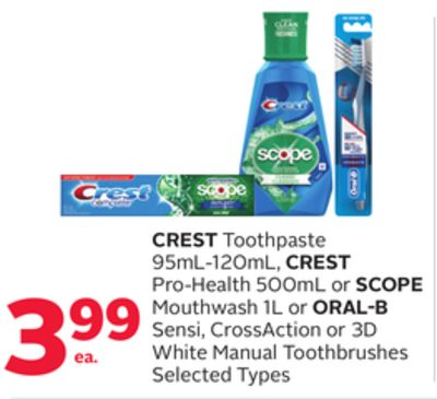 Crest Toothpaste 95ml-120ml - Crest Pro-health 500ml or Scope Mouthwash 1l or Oral-b Sensi - Crossaction or 3D White Manual Toothbrushes