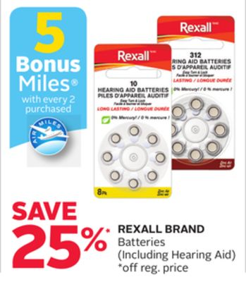 Rexall Brand Batteries - 5 Bonus Air Miles Reward Miles