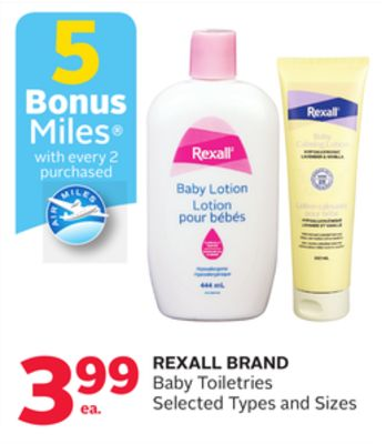 Rexall Brand Baby Toiletries - 5 Bonus Air Miles Reward Miles