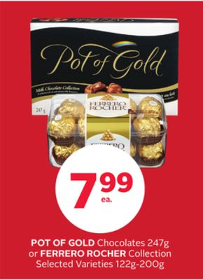 Pot Of Gold Chocolates 247g or Ferrero Rocher Collection 122g-200g