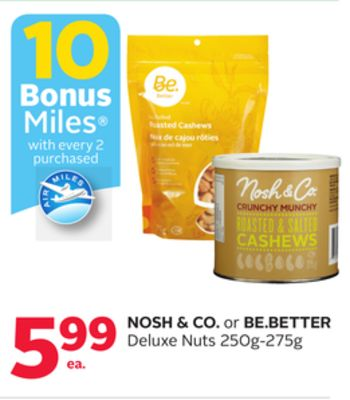Nosh & Co. or Be.better Deluxe Nuts - 10 Bonus Air Miles Reward Miles