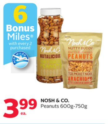 Nosh & Co. Peanuts 600g-750g - 6 Bonus Air Miles Reward Miles