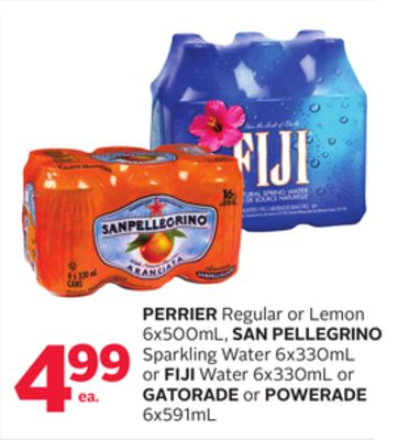 Perrier Regular or Lemon 6x500ml - San Pellegrino Sparkling Water 6x330ml or Fiji Water 6x330ml or Gatorade or Powerade 6x591ml