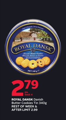 Royal Dansk Danish Butter Cookies Tin