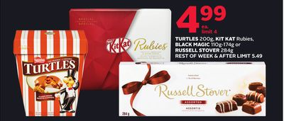 Turtles 200g - Kit Kat Rubies - Black Magic 110g-174g or Russell Stover 284g