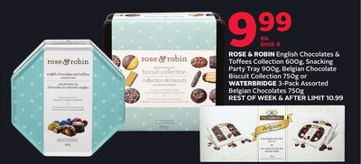 Rose & Robin English Chocolates & Toffees Collection 600g - Snacking Party Tray 900g - Belgian Chocolate Biscuit Collection 750g or Waterbridge 3-pack Assorted Belgian Chocolates 750g