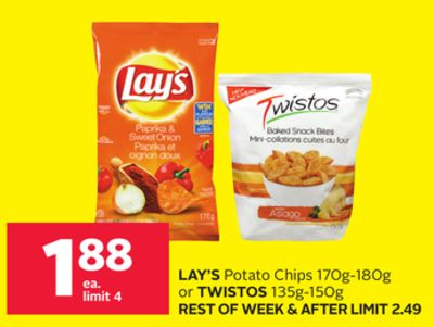 Lay's Potato Chips 170g-180g or Twistos 135g-150g