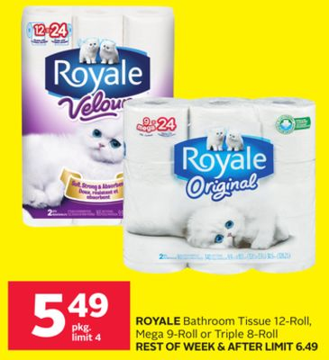 Royale Bathroom Tissue 12-roll - Mega 9-roll or Triple 8-roll