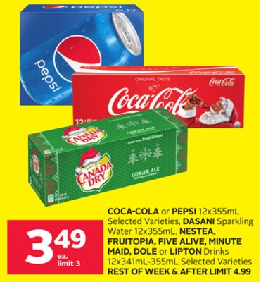 Coca-cola or Pepsi 12x355ml Selected Varieties - Dasani Sparkling Water 12x355ml - Nestea - Fruitopia - Five Alive - Minute Maid - Dole or Lipton Drinks 12x341ml-355ml