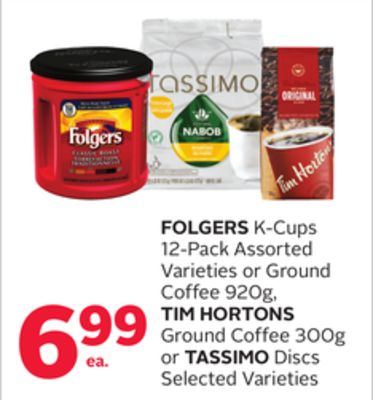 Folgers K-cups 12-pack Assorted Varieties or Ground Coffee 920g - Tim Hortons Ground Coffee 300g or Tassimo Discs