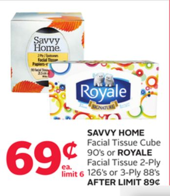 Savvy Home Facial Tissue Cube 90's or Royale Facial Tissue 2-ply 126's or 3-ply 88's