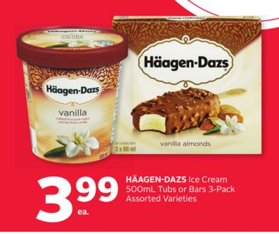 Häagen-dazs Ice Cream 500ml Tubs or Bars 3-pack