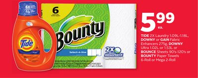 Tide 2x Laundry 1.09l-1.18l - Downy or Gain Fabric Enhancers 275g - Downy Ultra 1.02l or 1.53l or Bounce Sheets 90's-120's or Bounty Paper Towels 6-roll or Mega 2-roll