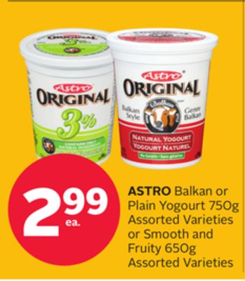 Astro Balkan Or Plain Yogourt 750g Assorted Varieties Or Smooth And Fruity 650g