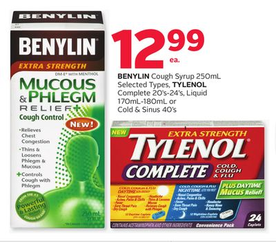 Benylin Cough Syrup 250ml Selected Types - Tylenol Complete 20's-24's - Liquid 170ml-180ml or Cold & Sinus 40's