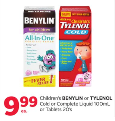 Children's Benylin or Tylenol Cold or Complete Liquid 100ml or Tablets 20's