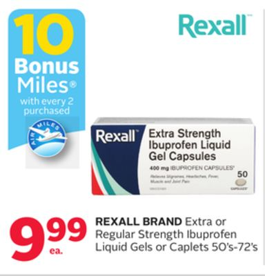 Rexall Brand Extra or Regular Strength Ibuprofen Liquid Gels or Caplets - 10 Bonus Air Miles Reward Miles