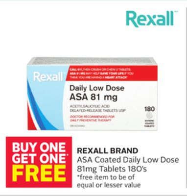 Rexall Brand Asa Coated Daily Low Dose 81mg Tablets