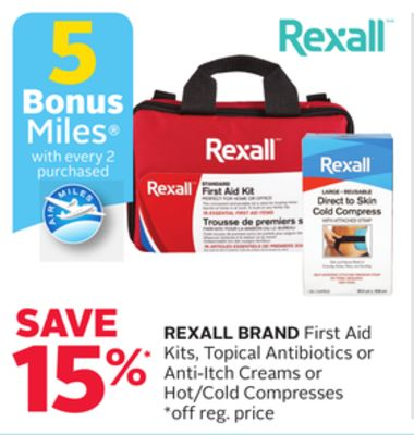 Rexall Brand First Aid Kits - Topical Antibiotics or Anti-itch Creams or Hot/cold Compresses - 5 Bonus Air Miles Reward Miles