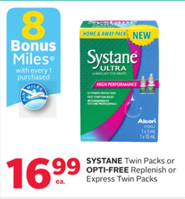 Systane Twin Packs Or Opti-Free Replenish Or Express Twin Packs - 8 Bonus Air Miles Reward Miles