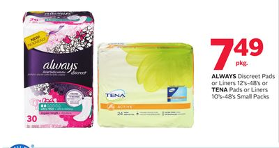 Always Discreet Pads or Liners 12's-48's or Tena Pads or Liners 10's-48's Small Packs