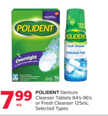 Polident Denture Cleanser Tablets 84's-96's or Fresh Cleanser 125ml