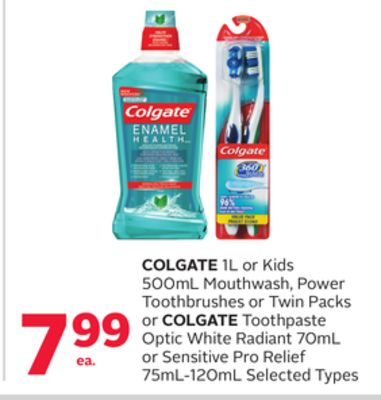 Colgate 1l Or Kids 500ml Mouthwash - Power Toothbrushes Or Twin Packs Or Colgate Toothpaste Optic White Radiant 70ml Or Sensitive Pro Relief 75ml-120ml