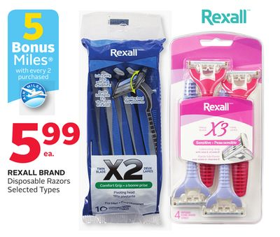 Rexall Brand Disposable Razors - 5 Bonus Air Miles Reward Miles