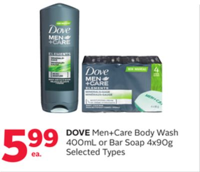 Dove Men+care Body Wash 400ml or Bar Soap 4x90g