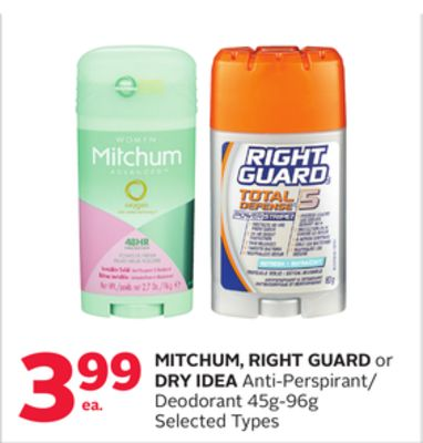 Mitchum - Right Guard or Dry Idea Anti-perspirant/ Deodorant 45g-96g