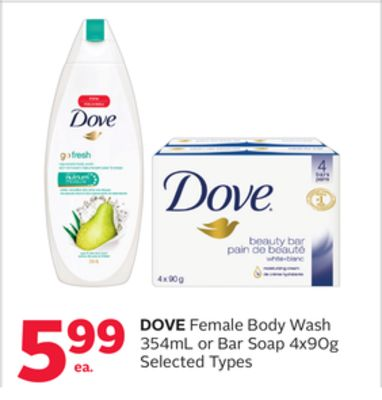 Dove Female Body Wash 354ml or Bar Soap 4x90g