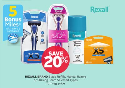 Rexall Brand Blade Refills - Manual Razors or Shaving Foam - 5 Bonus Air Miles Reward Miles With