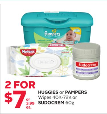 Huggies or Pampers Wipes 40's-72's or Sudocrem 60g